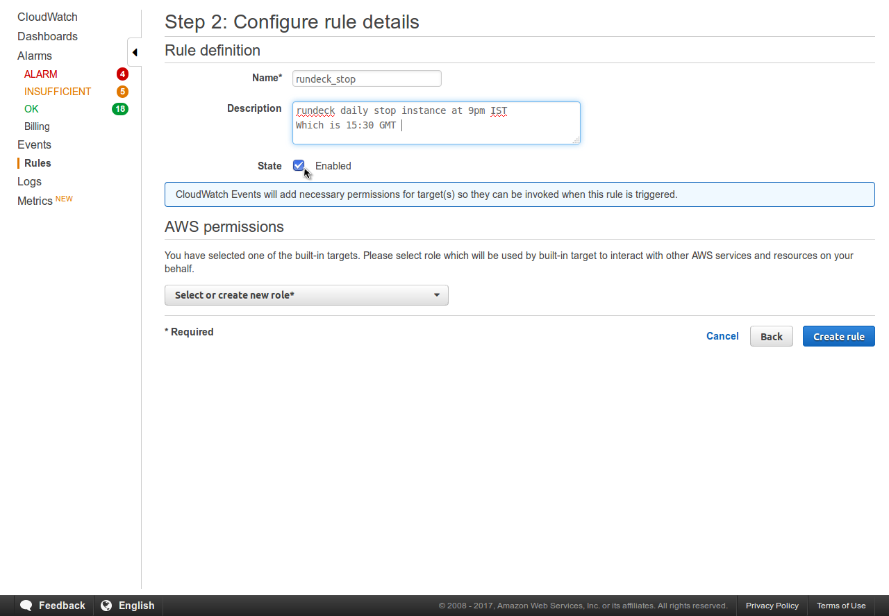 Schedule Daily EC2 Instance Stop Using CloudWatch Events