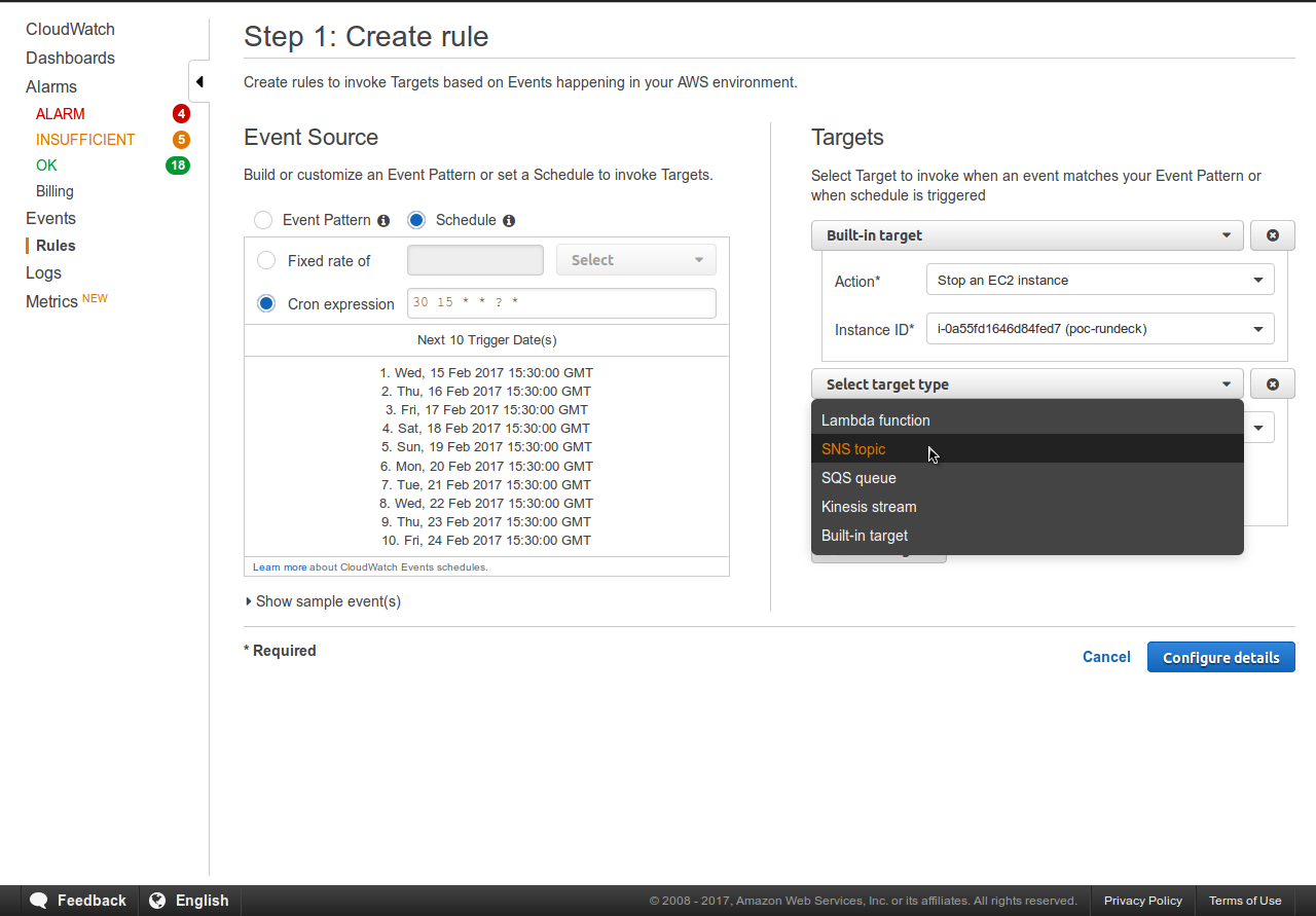 Schedule Daily EC2 Instance Stop Using CloudWatch Events | Talentica